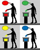 Young Man Voter Silhouettes With Different Colored Thought Bubble By Voting For Election. All The Si poster