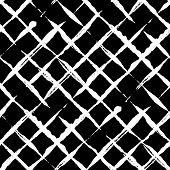 Modern Handdrawn Diagonal Checkered Seamless Pattern. Messy Striped Endless Ornament With White Hand poster