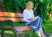 Ultimate Best Book List. Woman Blonde Take Break Relaxing In Park Reading Book. Girl Sit Bench Relax poster