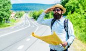 Man At Road Side With Map. Expeditor Backpacker Map Look Orienteering Direction. Orienteering Topogr poster