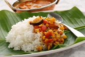 pic of kadai  - sambar and rice, vegetable curry, south indian cuisine ** Note: Shallow depth of field - JPG