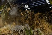 Competition, Energy And Motorsport Concept. Car Racing With Dirty Road. Off Road Vehicle Or Suv Cros poster