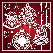 Christmas Card With Bells For Laser Cutting. Laser Cutting Template. Christmas Gift For Wood Carving poster