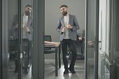 Confidence, Bearded Man Look Out Room Door. Confidence And Success Concept. poster