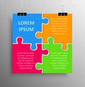 Poster Banner. Four Colour Pieces Puzzle Infographic Presentation. 4 Steps Square Business Diagram.  poster