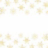 Vector Gold Snowflakes Border. Golden Snowflakes Horizontal Border. Snowflakes Frame. poster