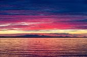 Intense Dramatic Sunset Color Over Birch Bay In Washington State poster
