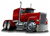 stock photo of tractor-trailer  - Vector cartoon semi truck - JPG