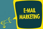 Conceptual Hand Writing Showing E Mail Marketing. Business Photo Showcasing E-commerce Advertising O poster