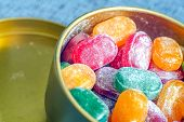 Постер, плакат: A Jar Of Bright Candy The Joy Of Children A Lot Of Sweets Candy Assorted Colors Caramel In Powde