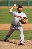 MESA, AZ - NOVEMBER 4: Salt River Rafters pitcher Jason Stoffel pitches off the mound in a game agai