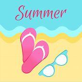 Summer Poster With Slide Sandals Or Flip-flops And Sunglasses On Seaside Vector Illustration Banner  poster