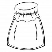Empty Glass Jar. Vector Of A Jar For Jam. Hand Drawn Glass Jar With A Lid For Jam. poster