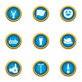 Beer Evening Icons Set. Flat Set Of 9 Beer Evening Vector Icons For Web Isolated On White Background poster
