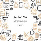 Vector Tea And Coffee Linear Icons Background With Place For Text Illustration. Coffee House Or Shop poster