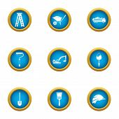 Contemporary House Icons Set. Flat Set Of 9 Contemporary House Vector Icons For Web Isolated On Whit poster