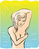 Nude Girl Under The Sun.  Nude Girl Protect Herself From The Sun. Illustration Of Sunburn Concept. poster