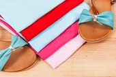 Colorful Shirts And Leather Sandals, Concept Of Casual Clothing For Woman poster