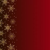 Vector Gold Snowflakes Border. Golden Snowflakes Vertical Border. Snowflakes Frame. Christmas Backgr poster