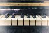 Pianoforte, Front View Instrument, Musical Instrument. Learn To Play The Instrument At Home. White L poster