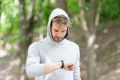 Digital Fitness. Modern Fitness Is Digital. Man With Fitness Bracelet. Digital Marketing In Sport. D poster