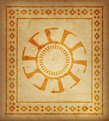 Decorative Ethnic Border On A Piece Of Parchment. Native Americans Symbol Of Sun. poster