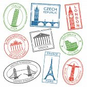 Vintage Travel Stamps For Postcards With Europe Countries Architecture Attractions Country Culture T poster