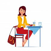 Girl Character Sits In Kitchen At Table, Eat Breakfasts Of Salad, Drinks Fresh Juice, Prepares For T poster