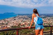 Young Tourist Woman And Sea Landscape With Terracina, Lazio, Italy. Scenic Resort Town Village With  poster