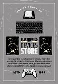 Modern Devices And Electronics Shop Old Monochrome Crumpled Poster. Big Powerful Loud Speakers, Comp poster