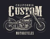 Vintage Custom Motorbike Emblem With Chopper Motorcycle In Monochrome Style Isolated Vector Illustra poster