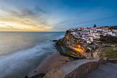 The Azenhas Do Mar Village At Sunset In Portugal, Europe; Concept For Travel In Portugal And Most Be poster
