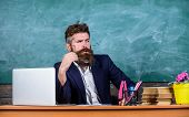 Teacher Concentrated Bearded Mature Schoolmaster Listening With Attention. Teacher Formal Wear Sit T poster