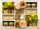 Beige Wooden Provence Vintage Style Shelf For Home Decoration. Shabby Chic Style With Beige Flowers  poster