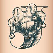 Vintage Joker Skull, Monochrome Hand Drawn Tattoo Style poster
