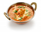 stock photo of kadai  - butter chicken in kadai on a white background  - JPG