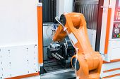 robotic arm machine tool at industrial manufacture plant,Smart factory industry 4.0 concept. poster