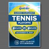 Tennis Poster Vector. Sports Bar Event Announcement. Vertical Banner Advertising. Court. Professiona poster