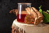 Ayahuasca Brew With Baniseriopsis Caapi Mimosa Hostilis Rootbark And Chackruna Leaves On Shamanic Dr poster