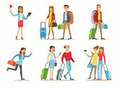 Set Of People With Travel Bags. Tourist Guide With Red Flag In Hand, Couples With Luggage, Girlfrien poster