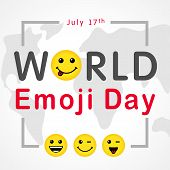 World Emoji Day With Lettering And Smiling Emoticon, July 17th. Happy Yellow Smiley In A Flat Design poster