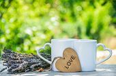 Two Mugs Of Tea In The Garden. Romantic Morning Coffee. Mug With A Heart. Copy Space poster