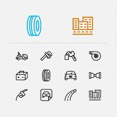 Car Icons Set. Safe Travel And Car Icons With Car Logo, Car Badge And Car Rent. Set Of Mechanical Fo poster
