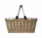 Modern Wicker Basket With Metal Handle, Cut Out Side View poster