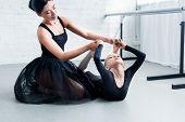 Young Ballet Teacher Training Adorable Flexible Child In Ballet School poster