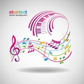 stock photo of treble clef  - Colorful music background - JPG