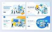 Set Of Web Page Design Templates For Education, Know How, University, Business Solutions. Modern Vec poster