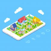 Isometric City Infrastructure With Houses,trees And Fountain On Mobile Phone poster