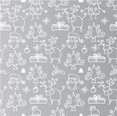 Seamless silver christmas time pattern in vector