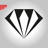 Diamond Icon In Trendy Flat Style Isolated On Background. Diamond Icon Page Symbol For Your Web Site poster